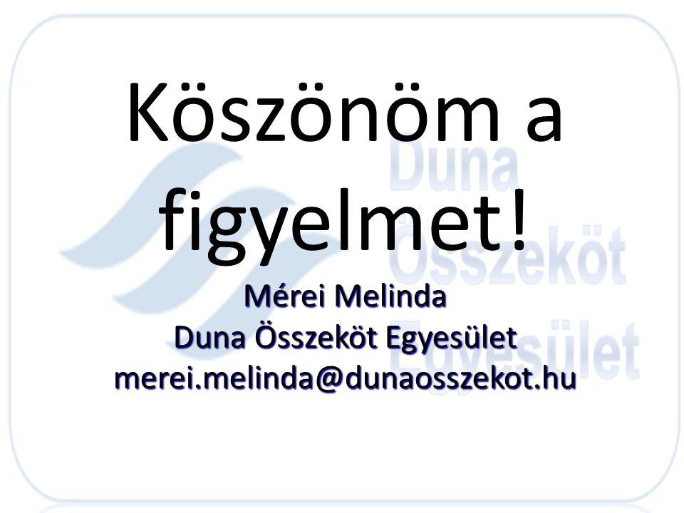 Köszönöm a figyelmet! Mérei Melinda Duna Összeköt Egyesület merei.melinda@dunaosszekot.hu