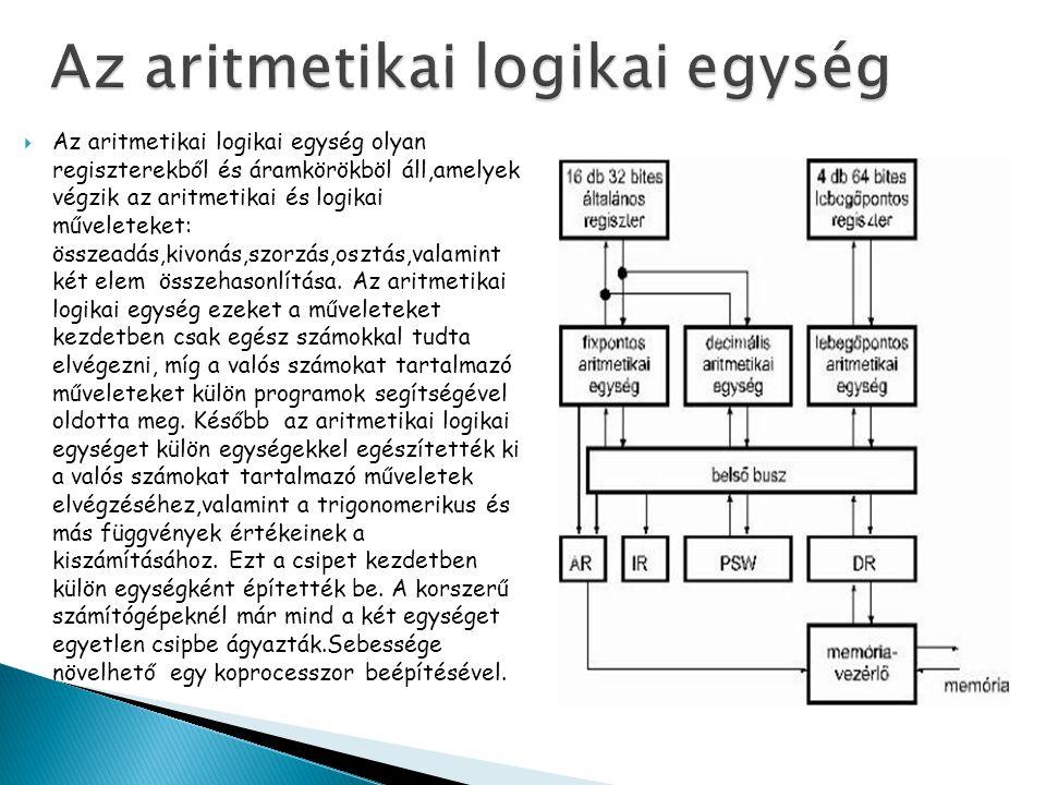  Az aritmetikai logikai egység olyan regiszterekből és áramkörökböl áll,amelyek végzik az aritmetikai és logikai műveleteket: összeadás,kivonás,szorzás,osztás,valamint két elem összehasonlítása.