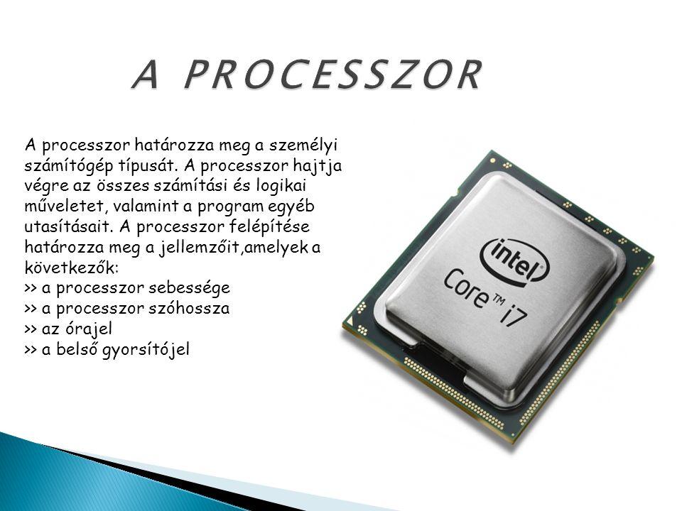 A személyi számítógép generációinak jellemzői ÉvMegnevezésProcesszorKoproc.Szóhossz (bit) Sín (bit) Órajel (Mhz) 1981PC808880871682 1983PC XT808880871684-16 1984PC AT802868028716 20-33 1987PC 386803868038732 25 1987PC 386 SX 8038680387321633-133 1990PC 48680486belső32 90-233 1994PentiumP5belső32 233-450 1997Pentium llP6belső3264450-1,1G 1999Pentium lll_belső--1,3,4GHz
