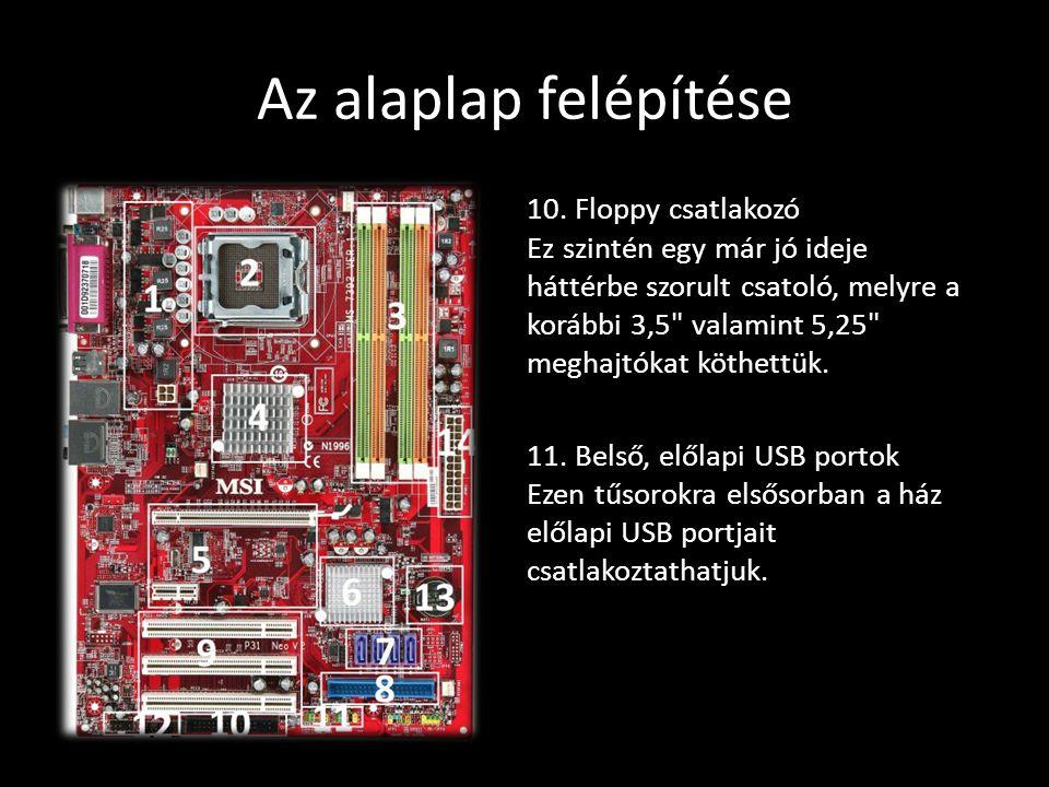 Az alaplap felépítése 10. Floppy csatlakozó Ez szintén egy már jó ideje háttérbe szorult csatoló, melyre a korábbi 3,5