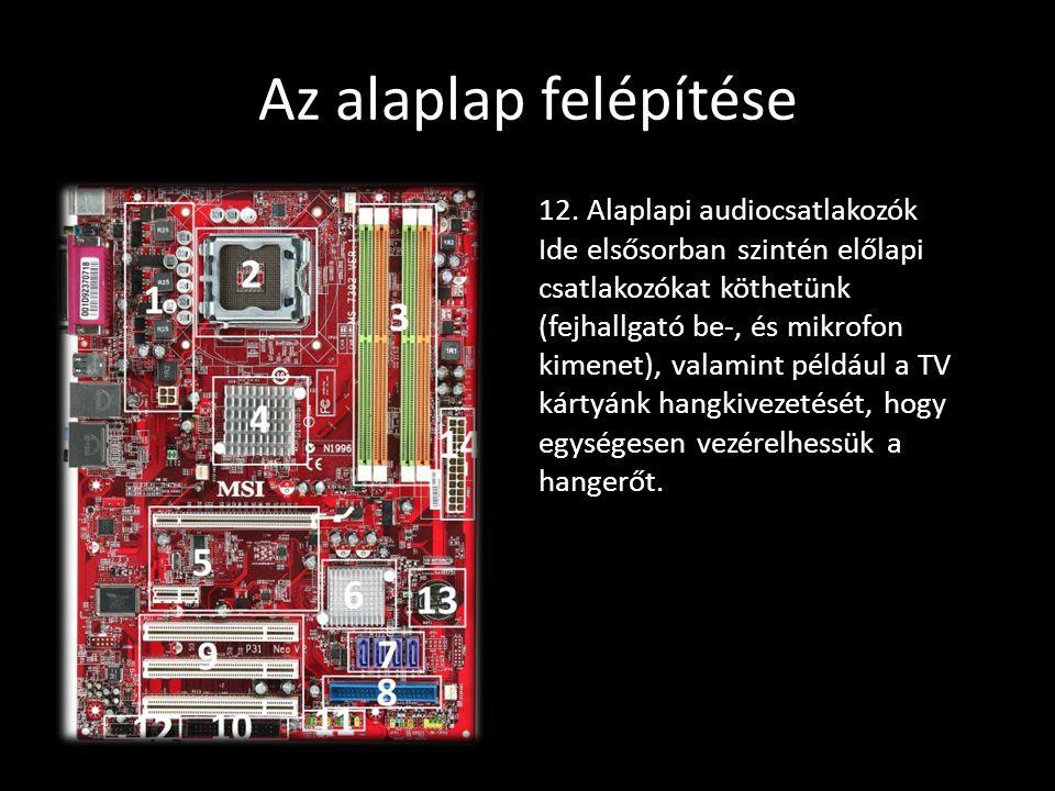 Az alaplap felépítése 12. Alaplapi audiocsatlakozók Ide elsősorban szintén előlapi csatlakozókat köthetünk (fejhallgató be-, és mikrofon kimenet), val