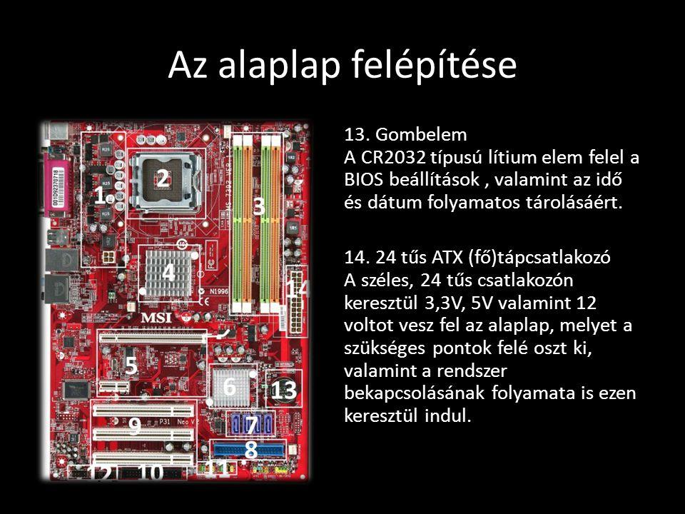 Az alaplap felépítése 13. Gombelem A CR2032 típusú lítium elem felel a BIOS beállítások, valamint az idő és dátum folyamatos tárolásáért. 14. 24 tűs A