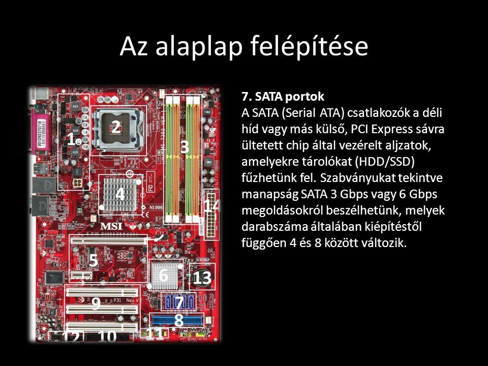 Az alaplap felépítése 7. SATA portok A SATA (Serial ATA) csatlakozók a déli híd vagy más külső, PCI Express sávra ültetett chip által vezérelt aljzato