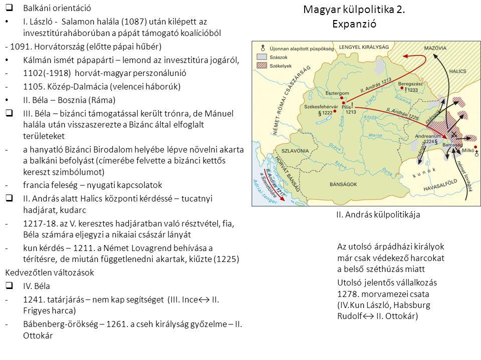 Magyar külpolitika 2. Expanzió  Balkáni orientáció • I. László - Salamon halála (1087) után kilépett az invesztitúraháborúban a pápát támogató koalíc