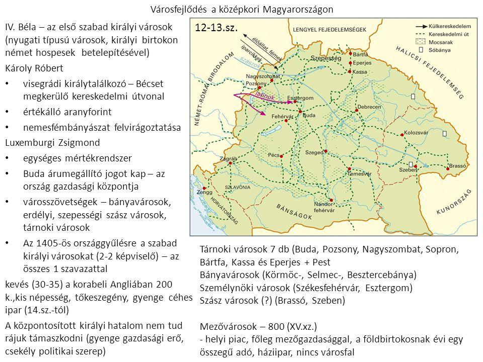 Városfejlődés a középkori Magyarországon IV. Béla – az első szabad királyi városok (nyugati típusú városok, királyi birtokon német hospesek betelepíté