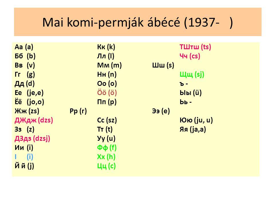 Mai komi-permják ábécé (1937- ) Аа(a)Кк (k) ТШтш (ts) Бб (b) Лл (l) Чч (cs) Вв (v) Мм (m) Шш (s) Гг (g) Нн (n) Щщ (sj) Дд (d) Оо (o) ъ - Ее (je,e) Öö (ö) Ыы (ü) Ёё (jo,o) Пп (p) Ьь - Жж (zs)Рр (r) Ээ (e) ДЖдж (dzs) Сс (sz) Юю (ju, u) Зз (z) Тт (t) Яя (ja,a) ДЗдз (dzsj) Уу (u) Ии (i) Фф (f) I (i) Хх (h) Й й (j) Цц (c)