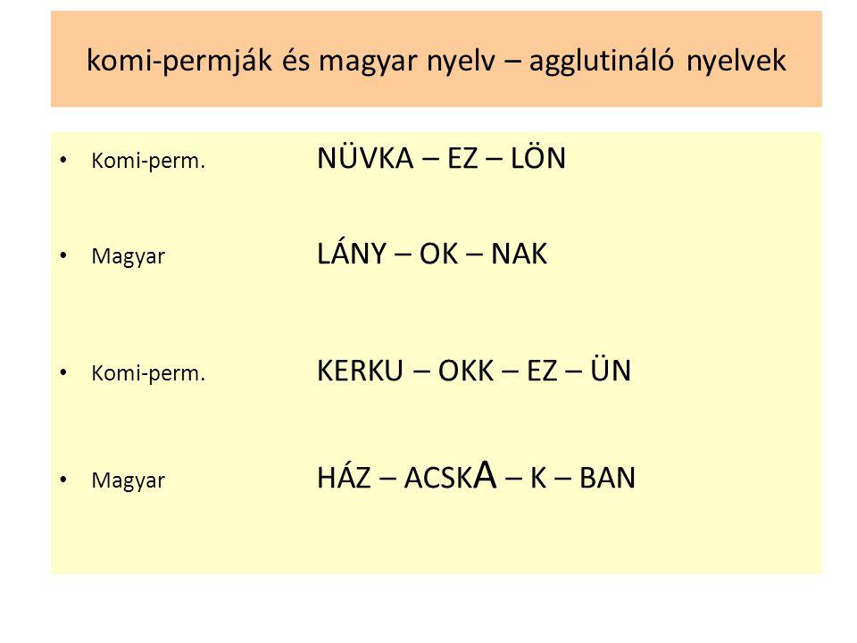 komi-permják és magyar nyelv – agglutináló nyelvek • Komi-perm. NÜVKA – EZ – LÖN • Magyar LÁNY – OK – NAK • Komi-perm. KERKU – OKK – EZ – ÜN • Magyar