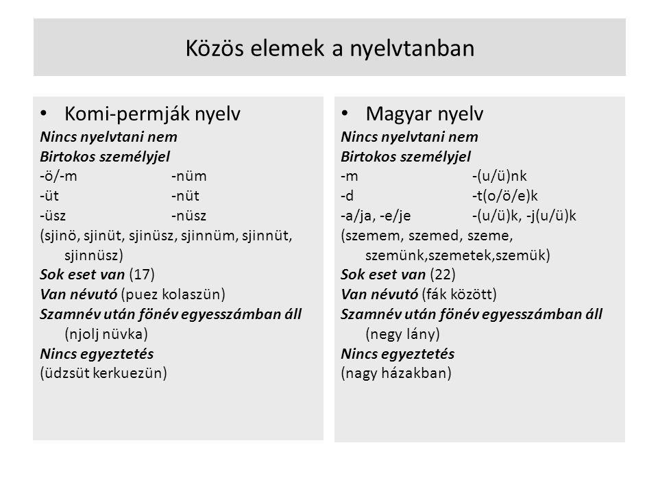 Közös elemek a nyelvtanban • Komi-permják nyelv Nincs nyelvtani nem Birtokos személyjel -ö/-m-nüm -üt-nüt -üsz-nüsz (sjinö, sjinüt, sjinüsz, sjinnüm,