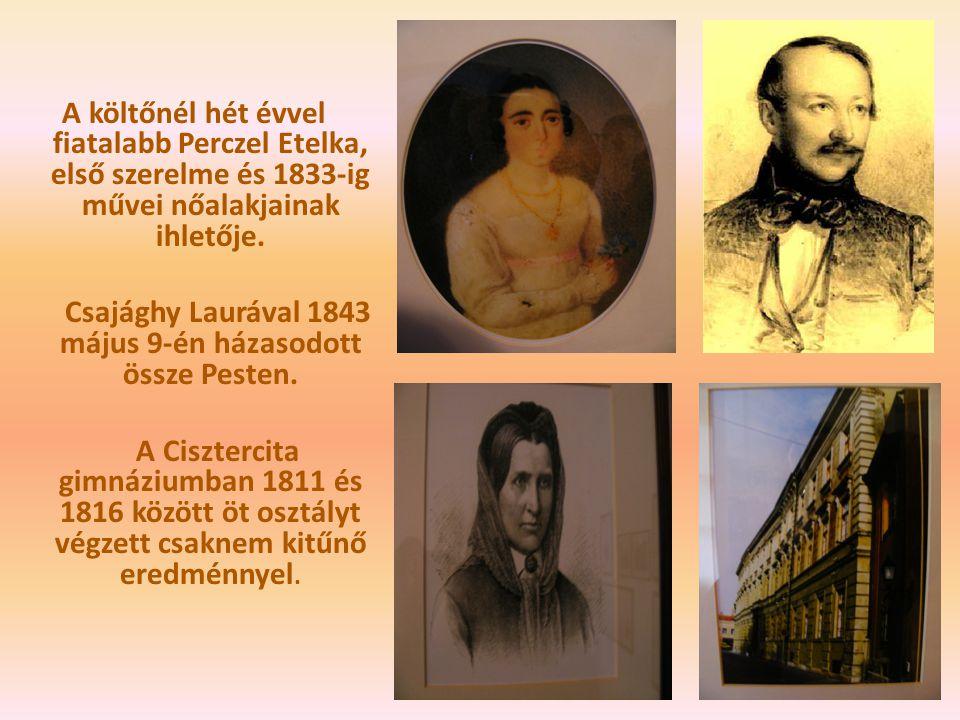 A költőnél hét évvel fiatalabb Perczel Etelka, első szerelme és 1833-ig művei nőalakjainak ihletője. Csajághy Laurával 1843 május 9-én házasodott össz