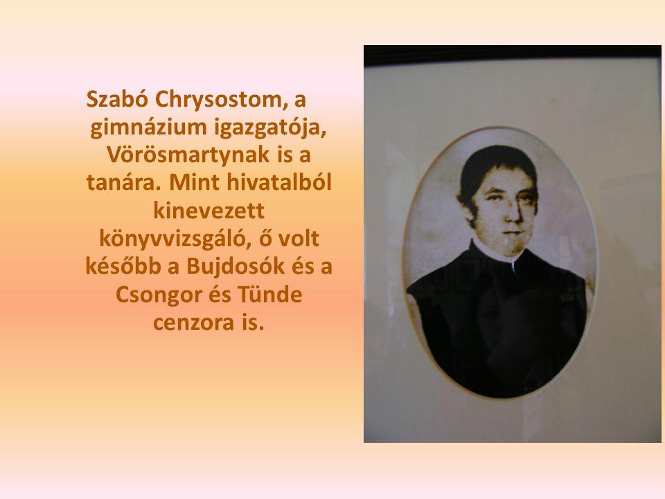 Szabó Chrysostom, a gimnázium igazgatója, Vörösmartynak is a tanára. Mint hivatalból kinevezett könyvvizsgáló, ő volt később a Bujdosók és a Csongor é