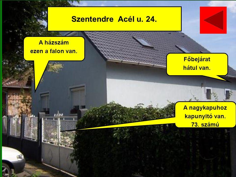 Szentendre Acél u. 24. A házszám ezen a falon van. Főbejárat hátul van. A nagykapuhoz kapunyitó van. 73. számú