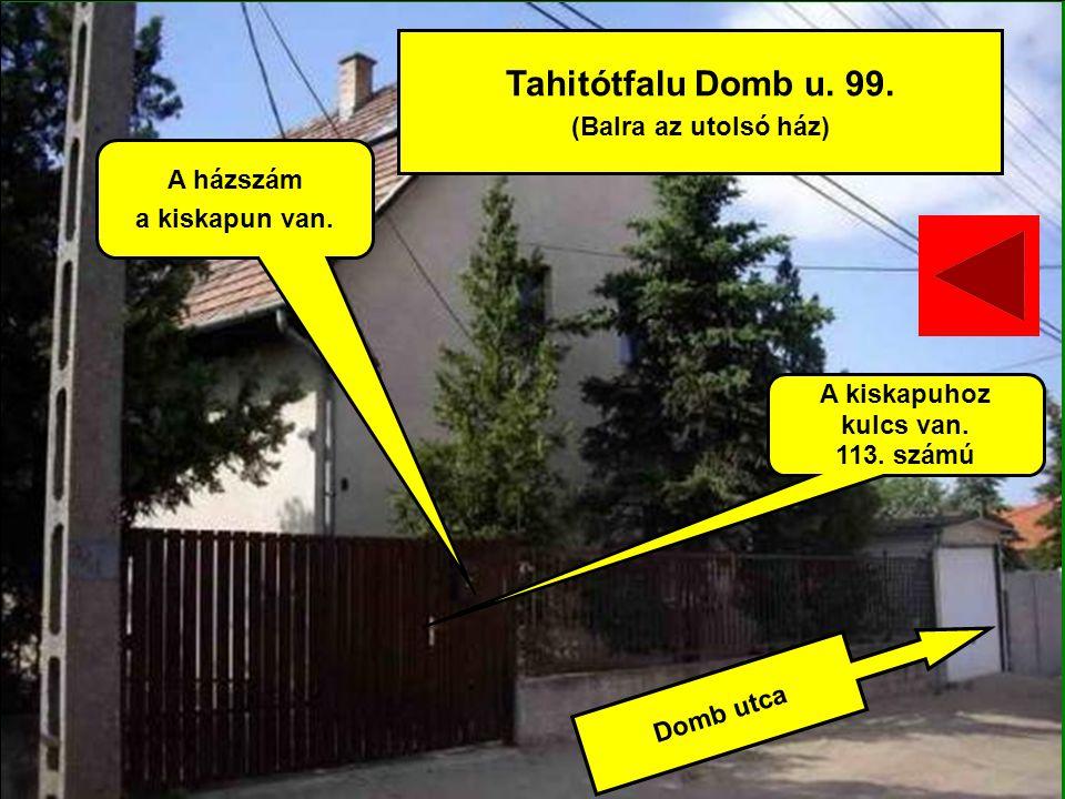 Domb utca Tahitótfalu Domb u. 99. (Balra az utolsó ház) A házszám a kiskapun van. A kiskapuhoz kulcs van. 113. számú