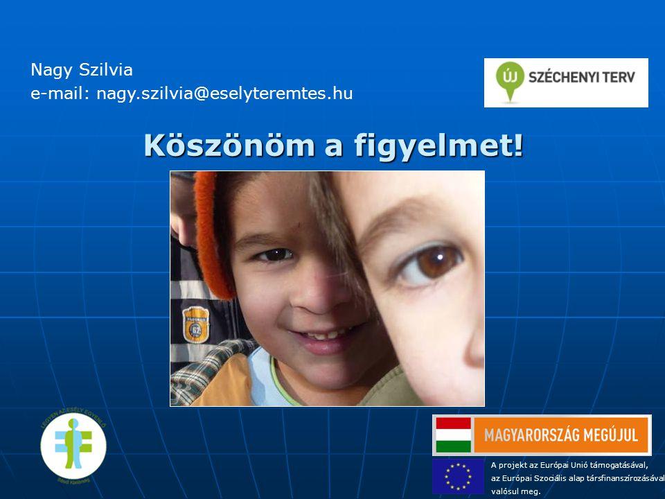 Köszönöm a figyelmet! Nagy Szilvia e-mail: nagy.szilvia@eselyteremtes.hu A projekt az Európai Unió támogatásával, az Európai Szociális alap társfinans