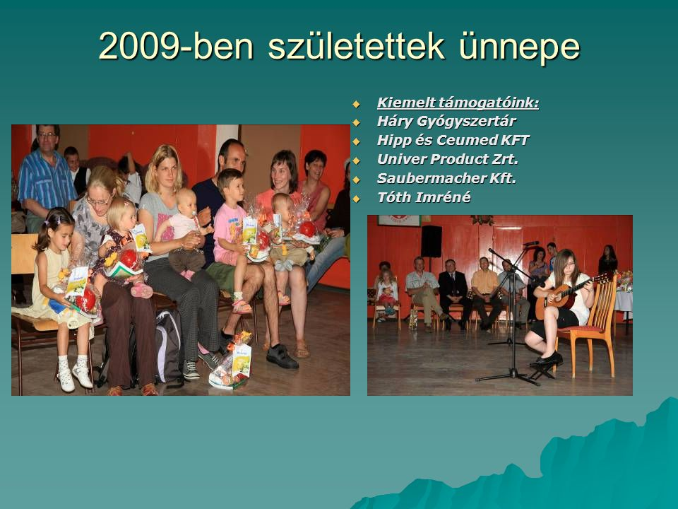 2009-ben születettek ünnepe  Kiemelt támogatóink:  Háry Gyógyszertár  Hipp és Ceumed KFT  Univer Product Zrt.