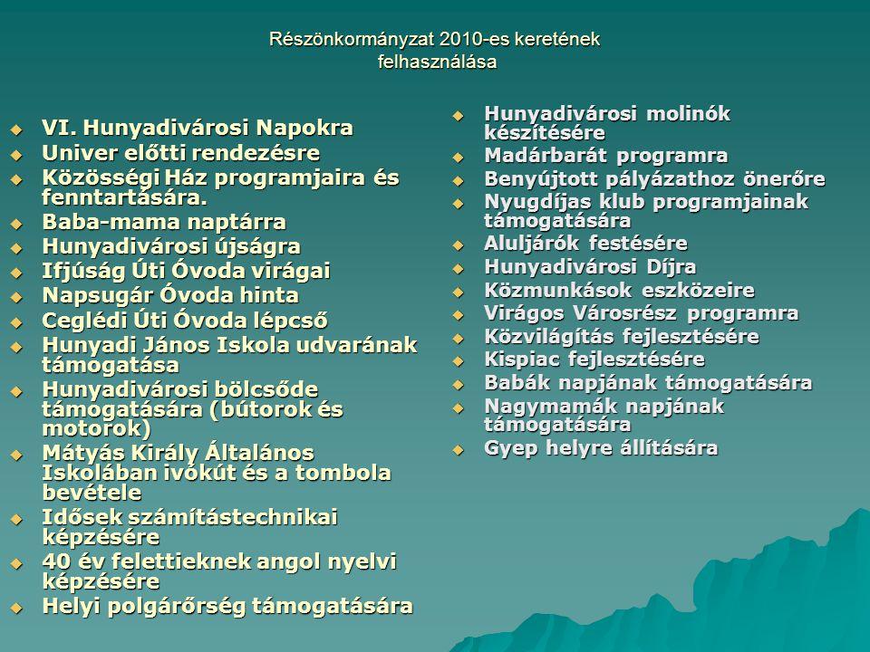 Részönkormányzat 2010-es keretének felhasználása  VI.