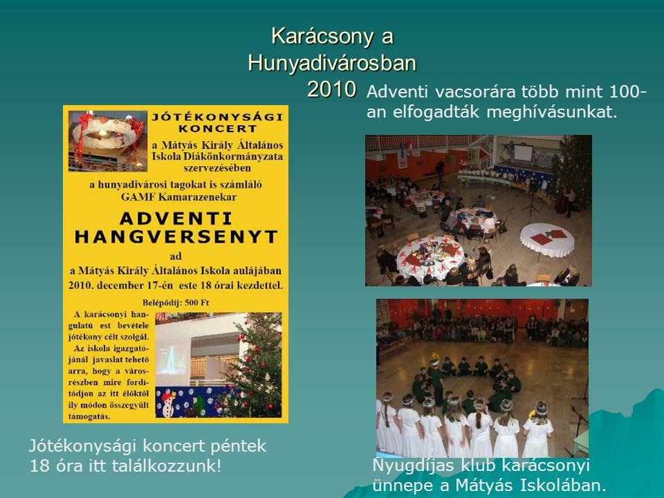 Karácsony a Hunyadivárosban 2010 Adventi vacsorára több mint 100- an elfogadták meghívásunkat.