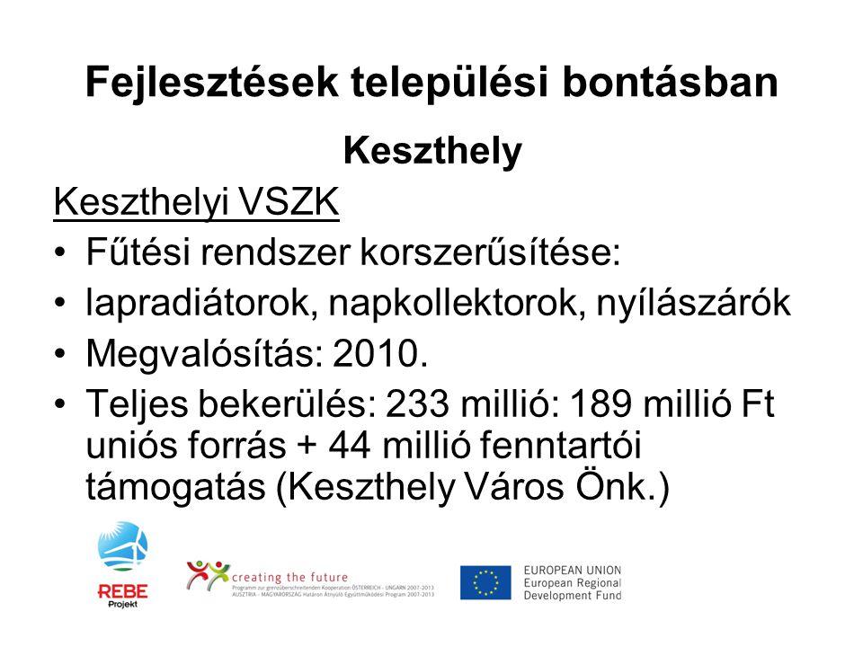 Fejlesztések települési bontásban Keszthely Keszthelyi VSZK •Fűtési rendszer korszerűsítése: •lapradiátorok, napkollektorok, nyílászárók •Megvalósítás