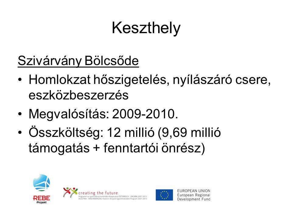 Keszthely Szivárvány Bölcsőde •Homlokzat hőszigetelés, nyílászáró csere, eszközbeszerzés •Megvalósítás: 2009-2010. •Összköltség: 12 millió (9,69 milli
