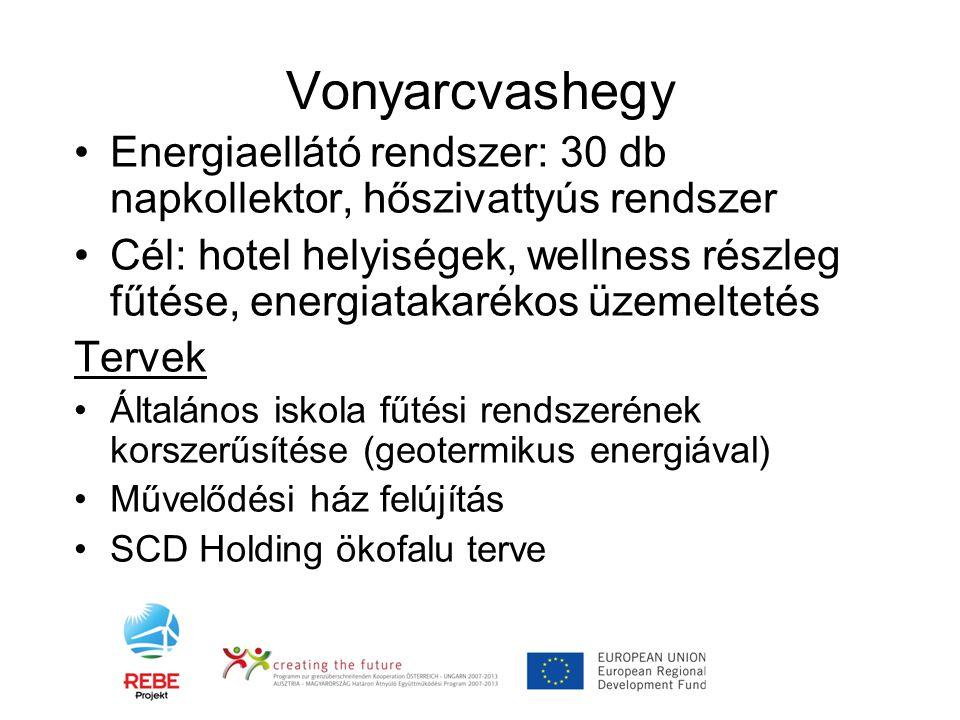 Vonyarcvashegy •Energiaellátó rendszer: 30 db napkollektor, hőszivattyús rendszer •Cél: hotel helyiségek, wellness részleg fűtése, energiatakarékos üz