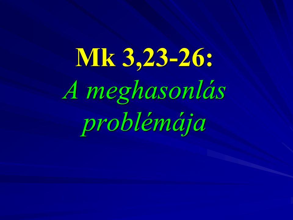 Mk 3,23-26: A meghasonlás problémája