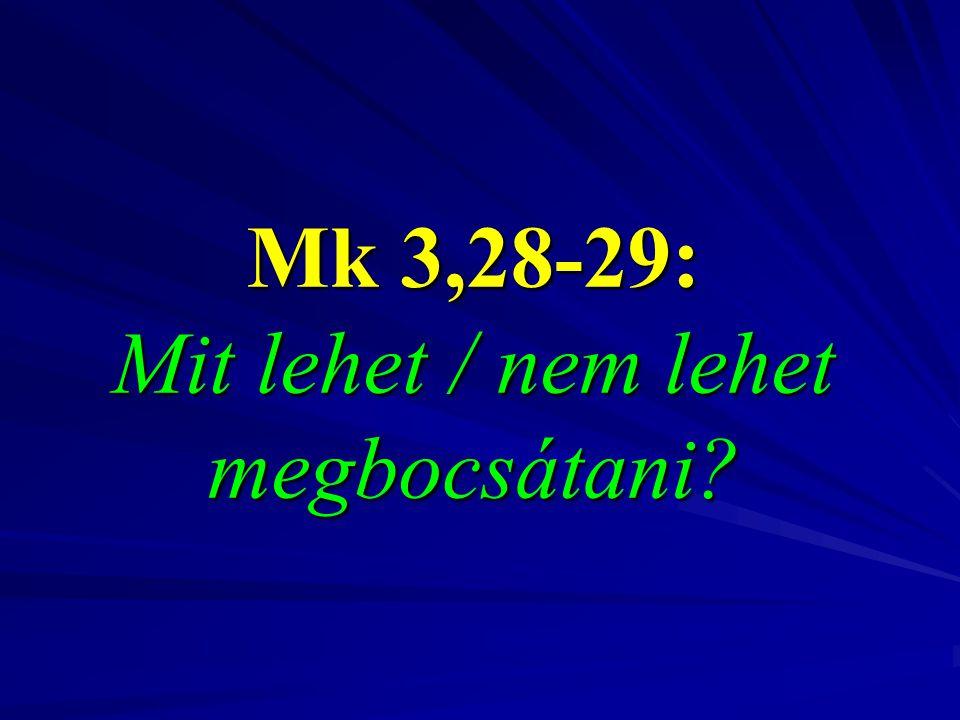 Mk 3,28-29: Mit lehet / nem lehet megbocsátani?