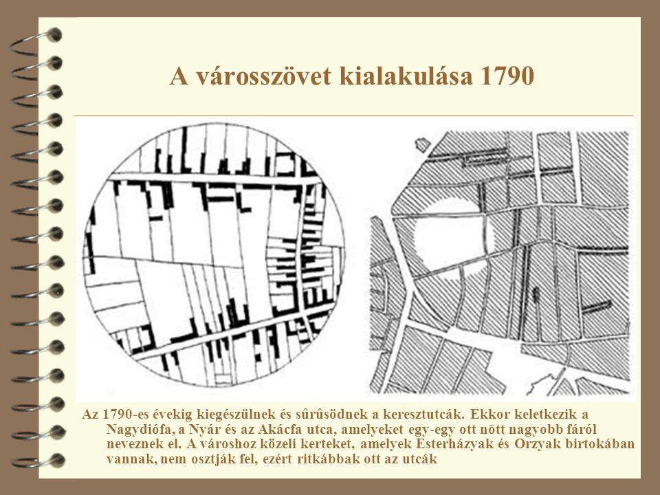 A városszövet kialakulása 1790 Az 1790-es évekig kiegészülnek és sûrûsödnek a keresztutcák. Ekkor keletkezik a Nagydiófa, a Nyár és az Akácfa utca, am