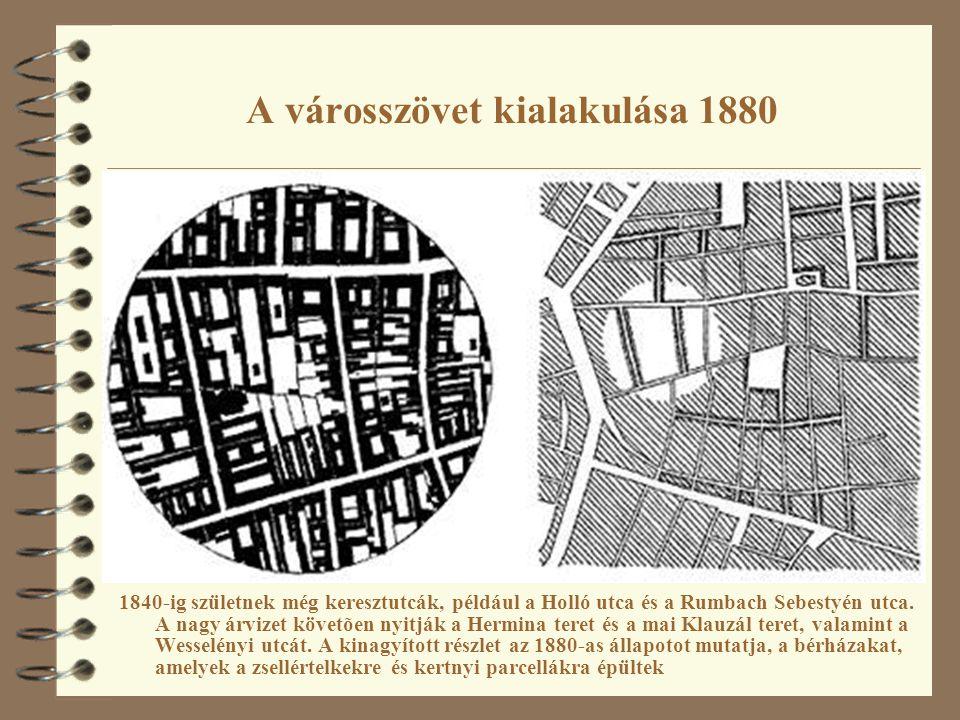 A városszövet kialakulása 1880 1840-ig születnek még keresztutcák, például a Holló utca és a Rumbach Sebestyén utca. A nagy árvizet követõen nyitják a