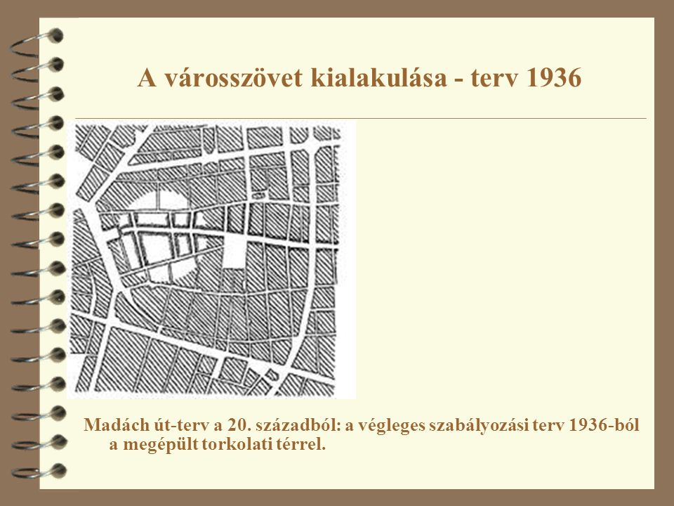 A városszövet kialakulása - terv 1936 Madách út-terv a 20. századból: a végleges szabályozási terv 1936-ból a megépült torkolati térrel.