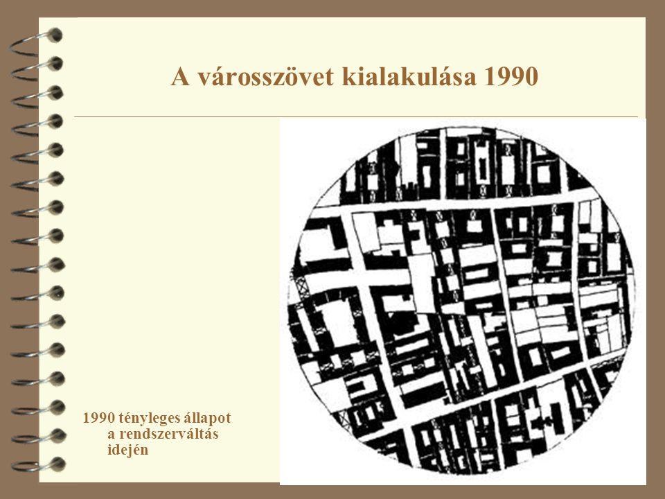 A városszövet kialakulása 1990 1990 tényleges állapot a rendszerváltás idején