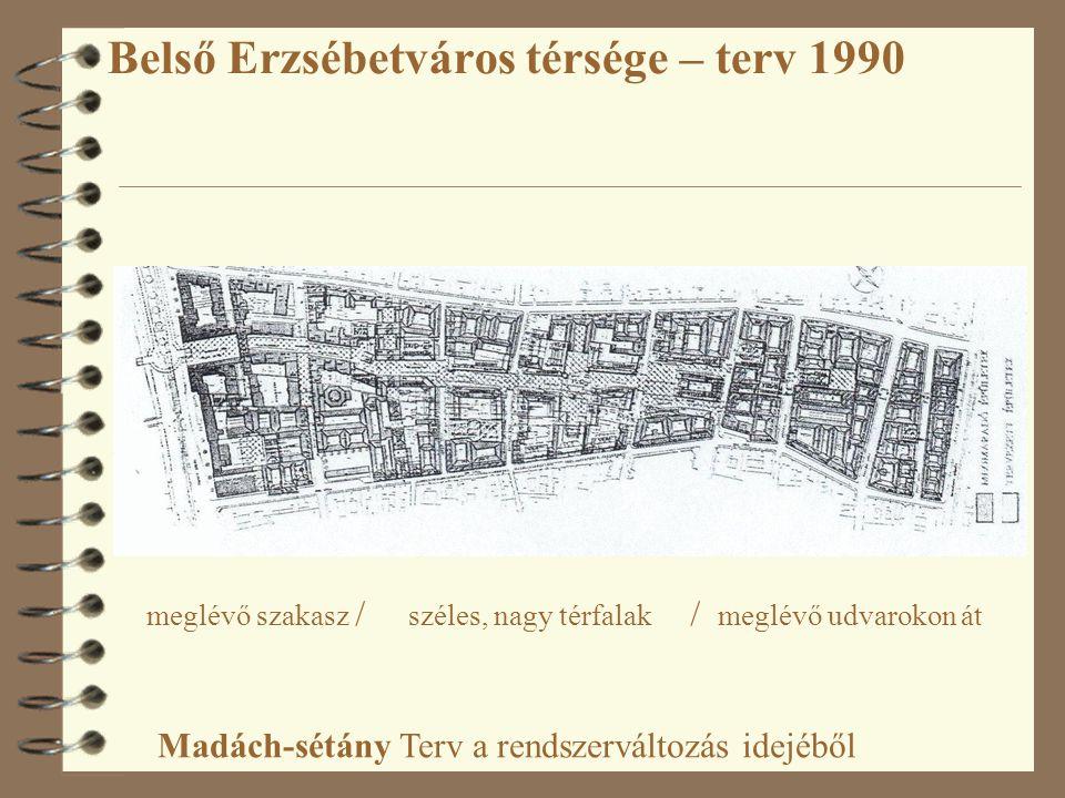 Belső Erzsébetváros térsége – terv 1990 Madách-sétány Terv a rendszerváltozás idejéből meglévő szakasz / széles, nagy térfalak / meglévő udvarokon át
