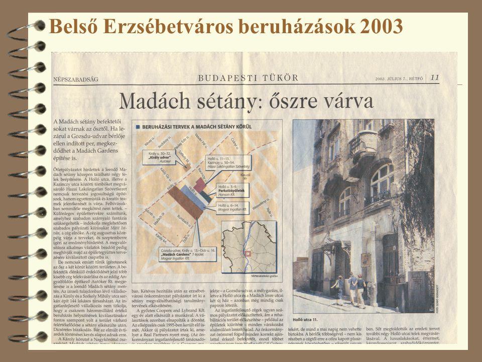Belső Erzsébetváros beruházások 2003