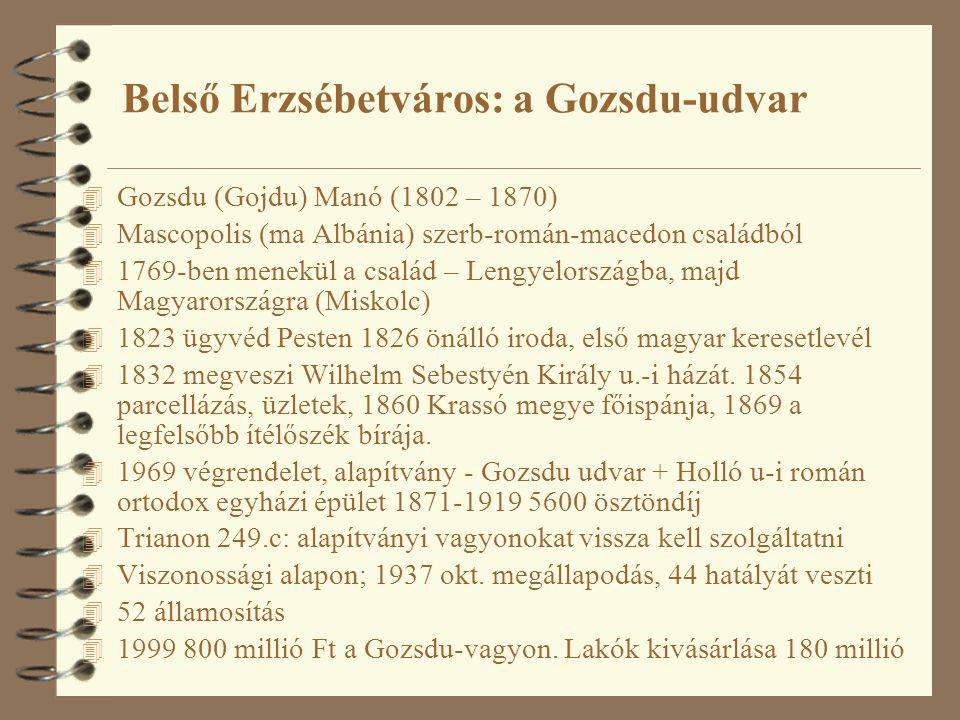 Belső Erzsébetváros: a Gozsdu-udvar 4 Gozsdu (Gojdu) Manó (1802 – 1870) 4 Mascopolis (ma Albánia) szerb-román-macedon családból 4 1769-ben menekül a c