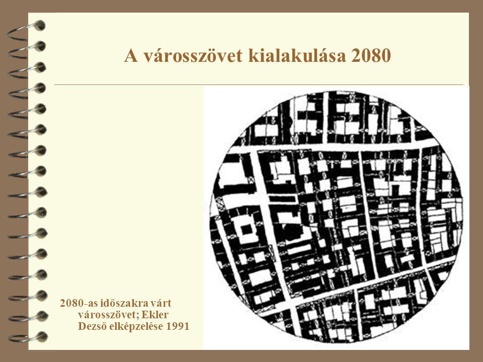 A városszövet kialakulása 2080 2080-as időszakra várt városszövet; Ekler Dezső elképzelése 1991