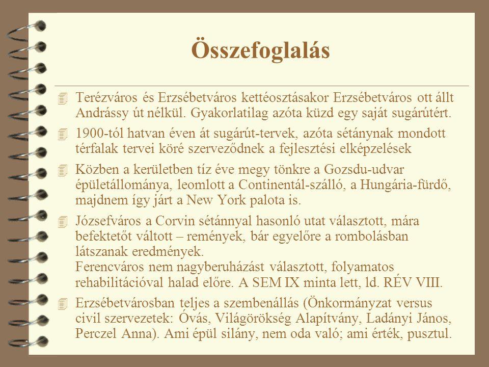 Összefoglalás 4 Terézváros és Erzsébetváros kettéosztásakor Erzsébetváros ott állt Andrássy út nélkül. Gyakorlatilag azóta küzd egy saját sugárútért.