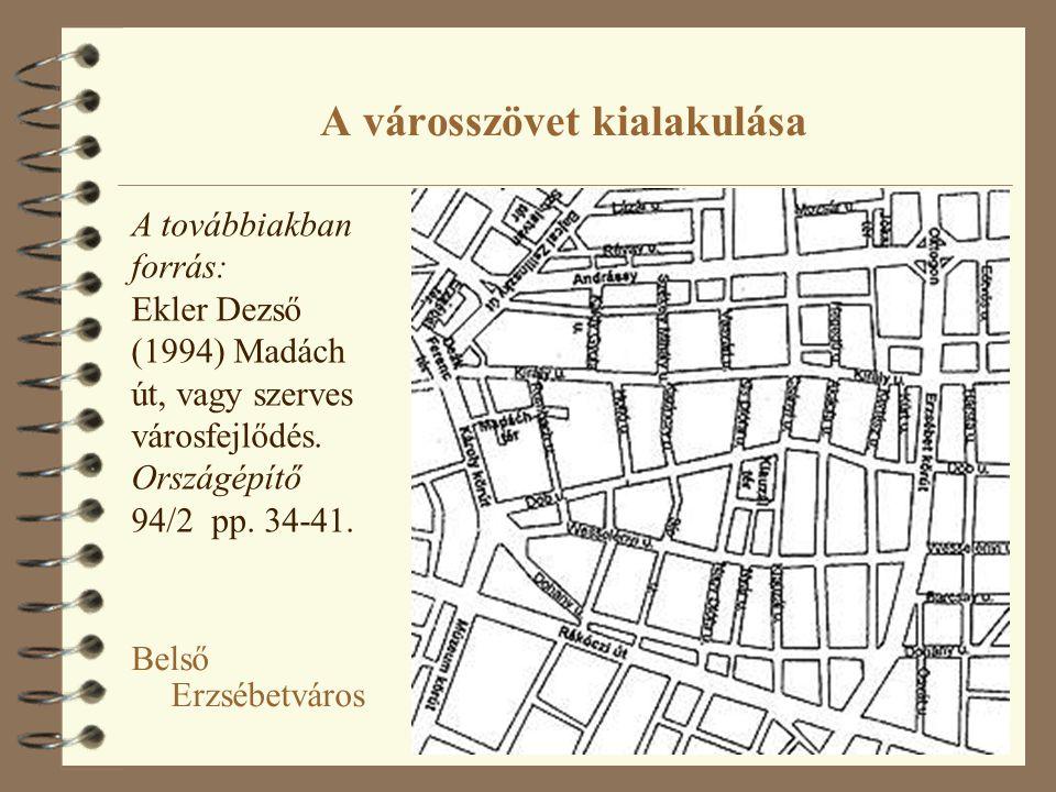 A városszövet kialakulása Belső Erzsébetváros A továbbiakban forrás: Ekler Dezső (1994) Madách út, vagy szerves városfejlődés. Országépítő 94/2 pp. 34