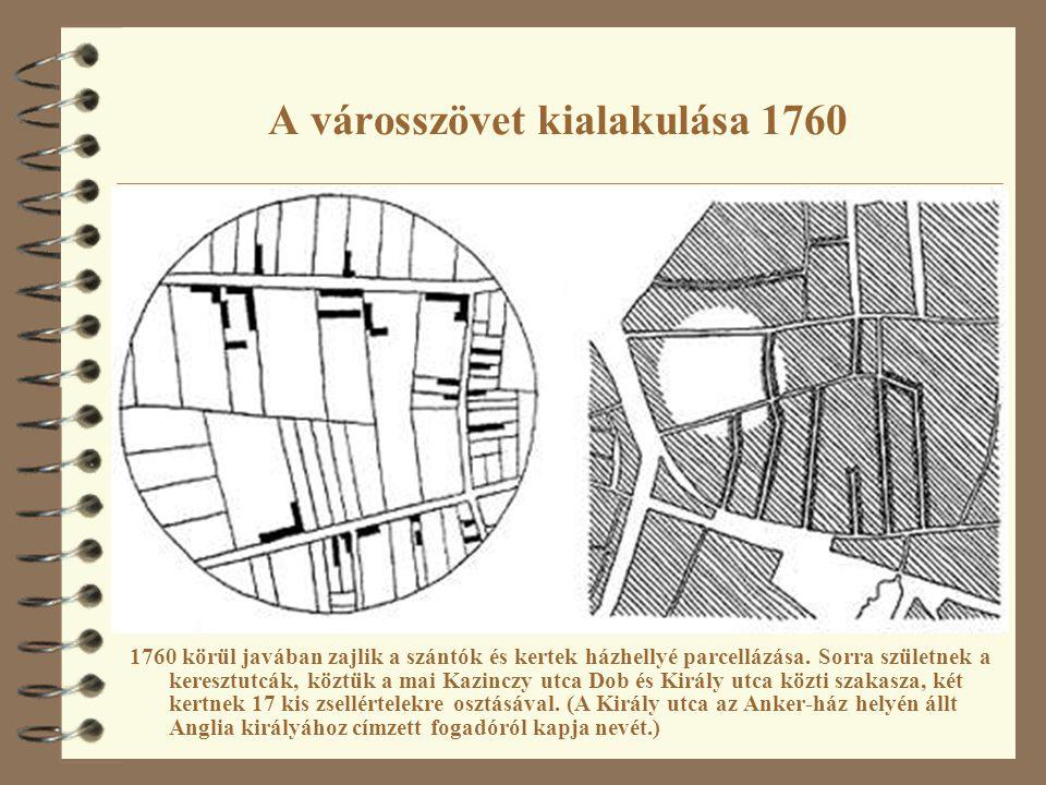 A városszövet kialakulása 1760 1760 körül javában zajlik a szántók és kertek házhellyé parcellázása. Sorra születnek a keresztutcák, köztük a mai Kazi