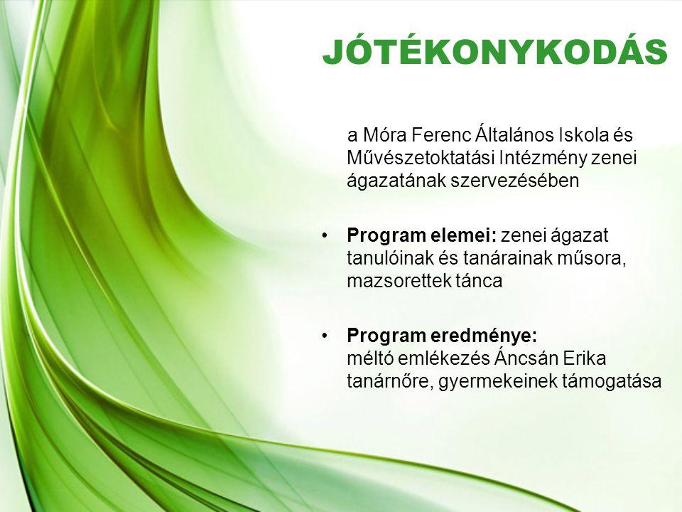 JÓTÉKONYKODÁS a Móra Ferenc Általános Iskola és Művészetoktatási Intézmény zenei ágazatának szervezésében •Program elemei: zenei ágazat tanulóinak és