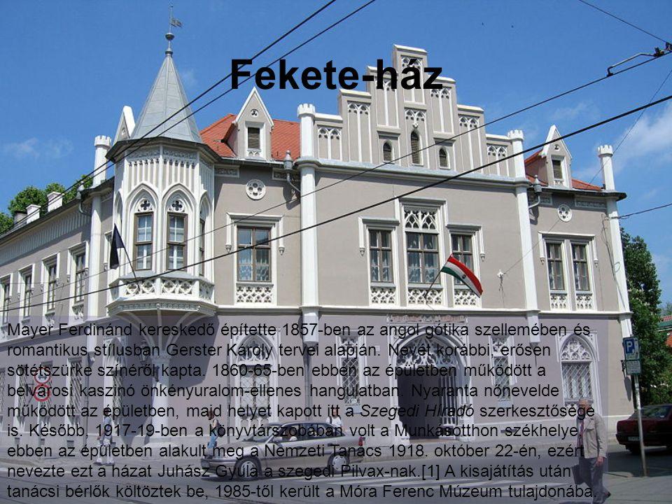 Fekete-ház Mayer Ferdinánd kereskedő építette 1857-ben az angol gótika szellemében és romantikus stílusban Gerster Károly tervei alapján.