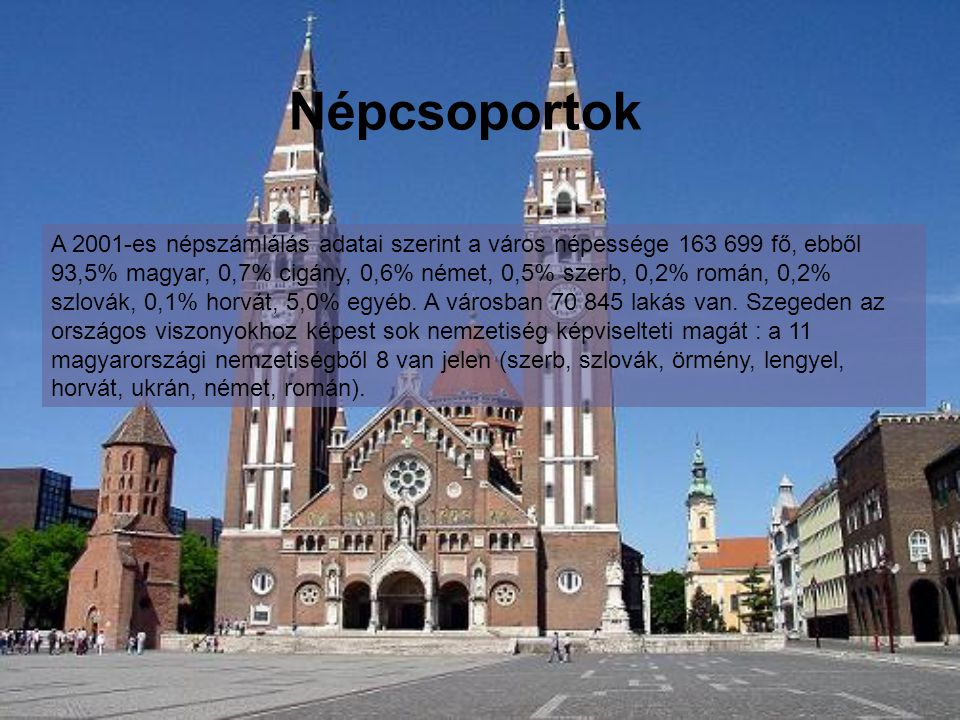Népcsoportok A 2001-es népszámlálás adatai szerint a város népessége 163 699 fő, ebből 93,5% magyar, 0,7% cigány, 0,6% német, 0,5% szerb, 0,2% román, 0,2% szlovák, 0,1% horvát, 5,0% egyéb.