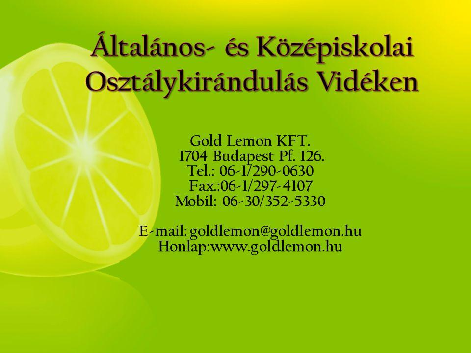 Gold Lemon KFT. 1704 Budapest Pf. 126. Tel.: 06-1/290-0630 Fax.:06-1/297-4107 Mobil: 06-30/352-5330 E-mail: goldlemon@goldlemon.hu Honlap:www.goldlemo