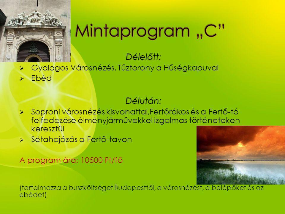 Délelőtt:  Gyalogos Városnézés, Tűztorony a Hűségkapuval  EbédDélután:  Soproni városnézés kisvonattal,Fertőrákos és a Fertő-tó felfedezése élményj