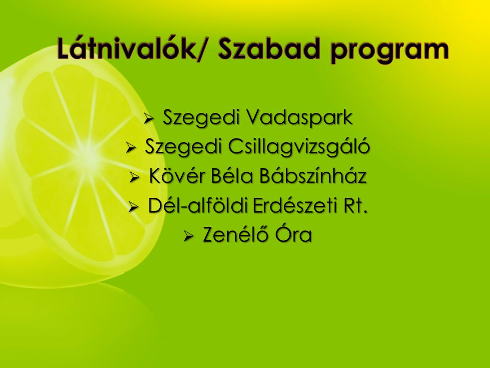  Szegedi Vadaspark  Szegedi Csillagvizsgáló  Kövér Béla Bábszínház  Dél-alföldi Erdészeti Rt.  Zenélő Óra