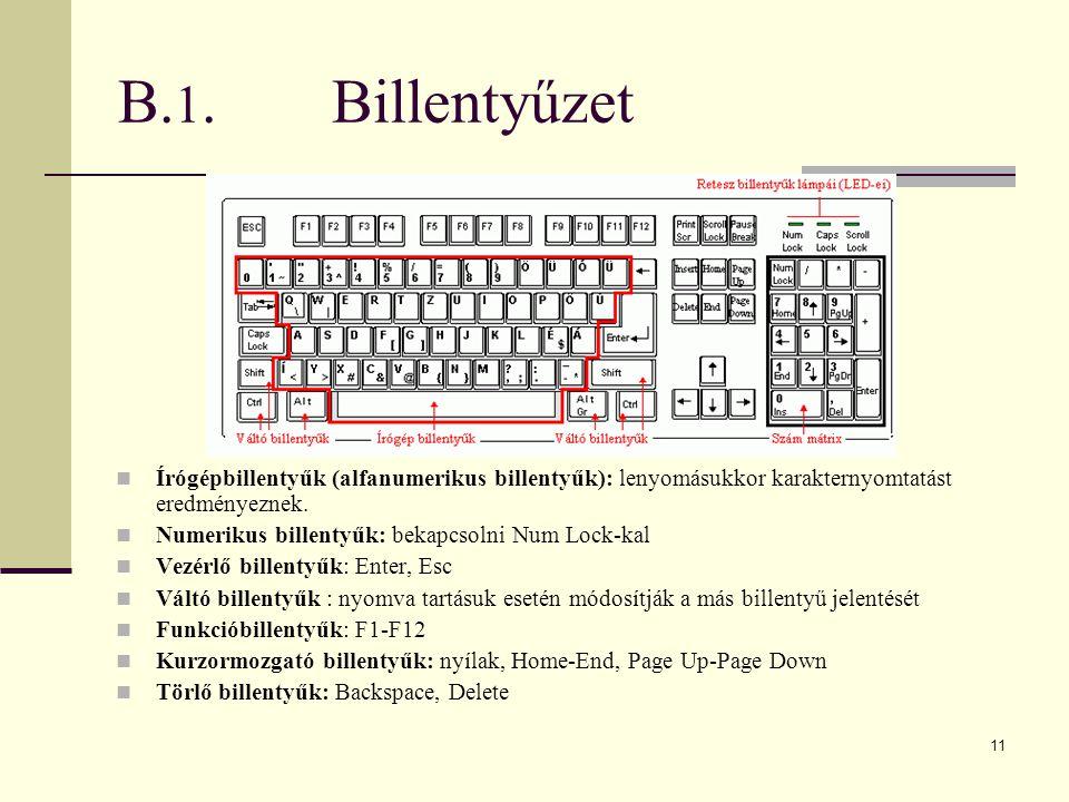 11 B. 1.Billentyűzet  Írógépbillentyűk (alfanumerikus billentyűk): lenyomásukkor karakternyomtatást eredményeznek.  Numerikus billentyűk: bekapcsoln