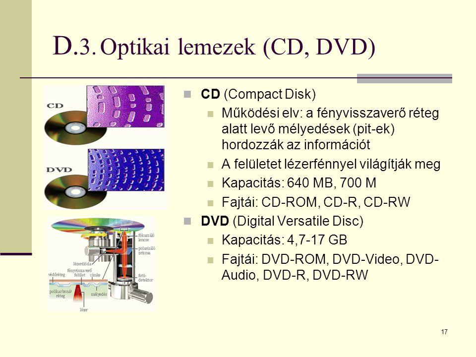 17 D. 3.Optikai lemezek (CD, DVD)  CD (Compact Disk)  Működési elv: a fényvisszaverő réteg alatt levő mélyedések (pit-ek) hordozzák az információt 