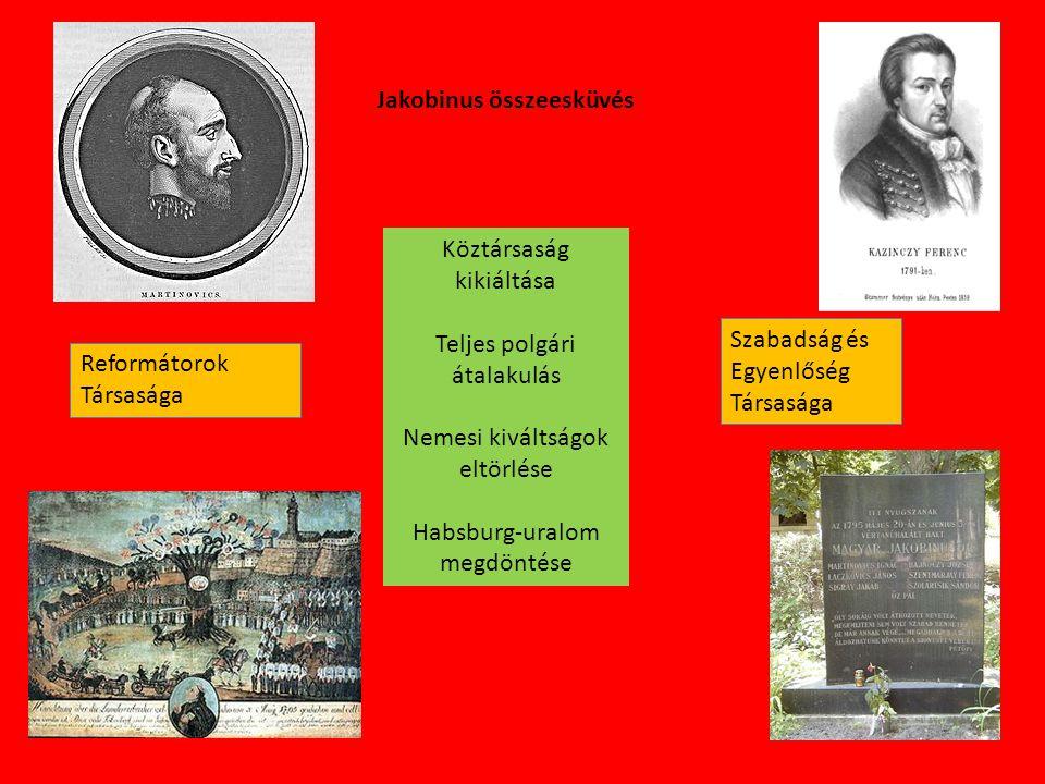 Jakobinus összeesküvés Reformátorok Társasága Szabadság és Egyenlőség Társasága Köztársaság kikiáltása Teljes polgári átalakulás Nemesi kiváltságok el