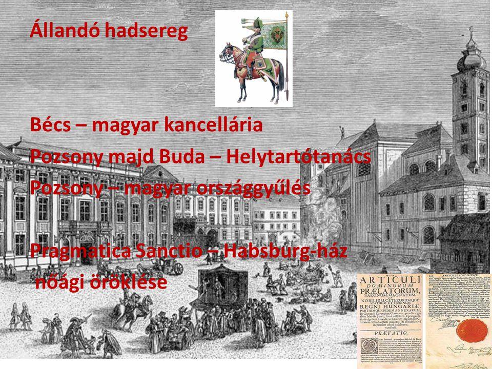 Állandó hadsereg Bécs – magyar kancellária Pozsony majd Buda – Helytartótanács Pozsony – magyar országgyűlés Pragmatica Sanctio – Habsburg-ház nőági ö