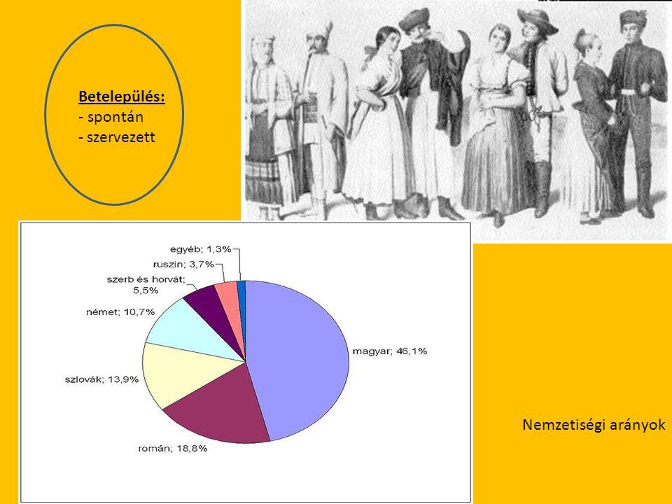 Nemzetiségi arányok Betelepülés: - spontán - szervezett