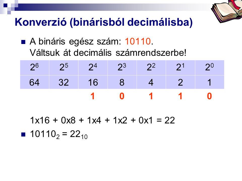 Bóta Laca Konverzió (binárisból decimálisba)  A bináris egész szám: 10110.