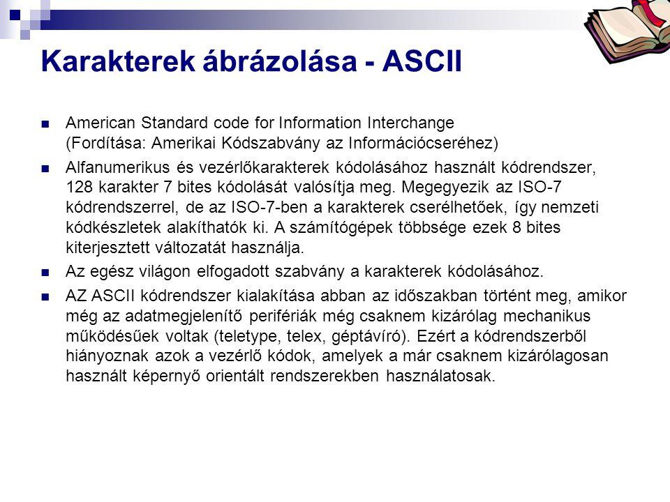 Bóta Laca Karakterek ábrázolása - ASCII  American Standard code for Information Interchange (Fordítása: Amerikai Kódszabvány az Információcseréhez)  Alfanumerikus és vezérlőkarakterek kódolásához használt kódrendszer, 128 karakter 7 bites kódolását valósítja meg.