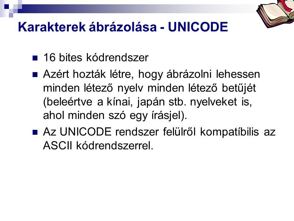 Bóta Laca Karakterek ábrázolása - UNICODE  16 bites kódrendszer  Azért hozták létre, hogy ábrázolni lehessen minden létező nyelv minden létező betűjét (beleértve a kínai, japán stb.